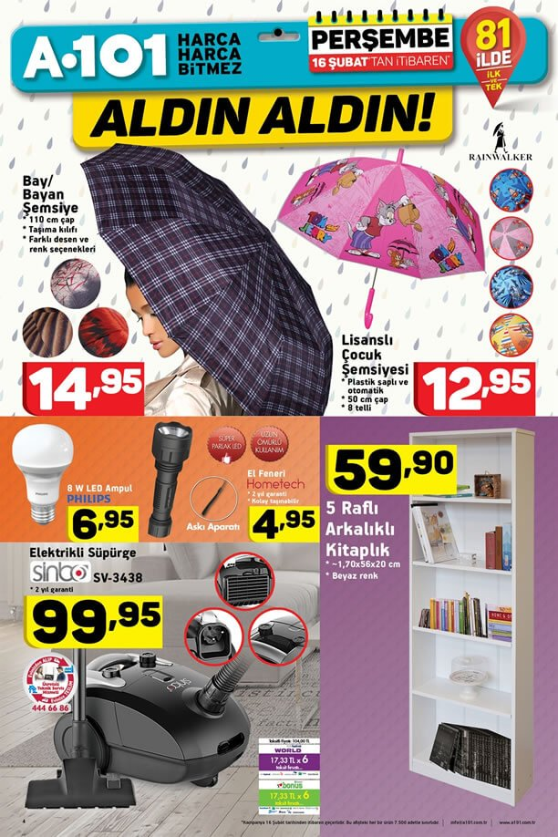 A101 Fırsat Ürünleri 16 Şubat 2017 Katalogu - Elektrikli Süpürge