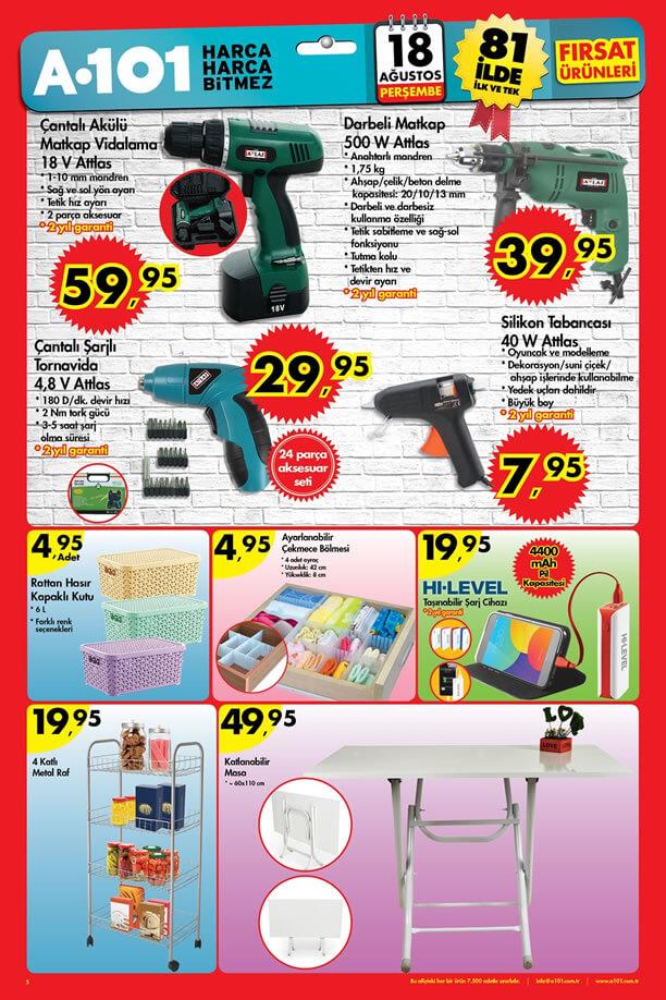 A101 Fırsat Ürünleri 18 Ağustos 2016 Katalogu - Attlas Darbeli Matkap