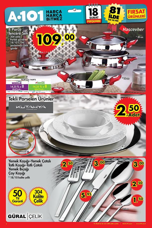 A101 Fırsat Ürünleri 18 Şubat 2016 - Hascevher 8 Parça Tencere Seti