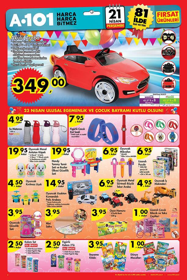 A101 Fırsat Ürünleri 21 Nisan 2016 Katalogu - Akülü Araba