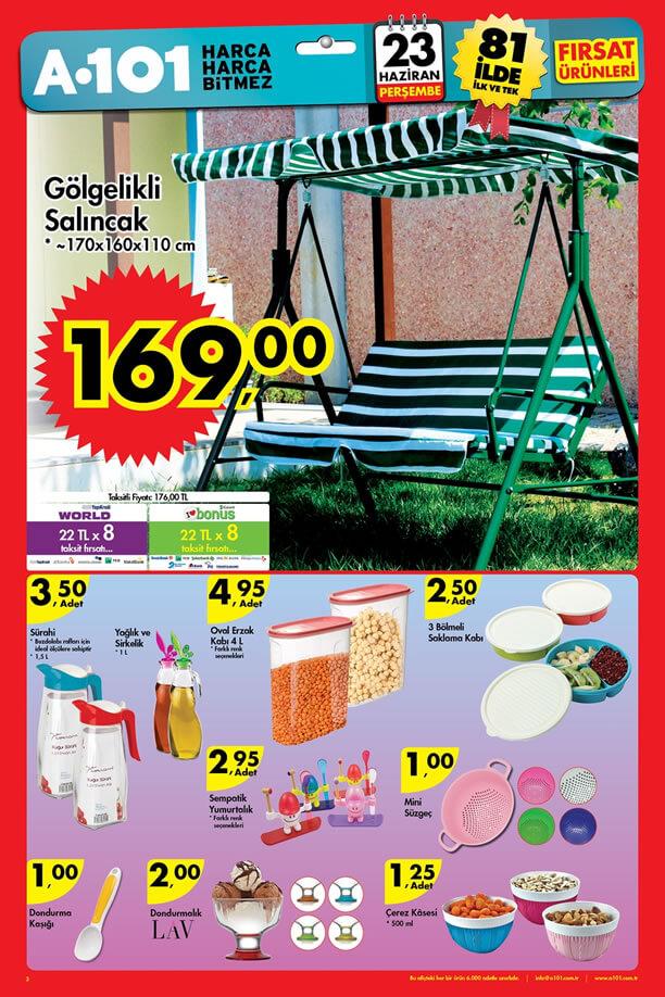 A101 Fırsat Ürünleri 23 Haziran 2016 Katalogu - Gölgelikli Salıncak