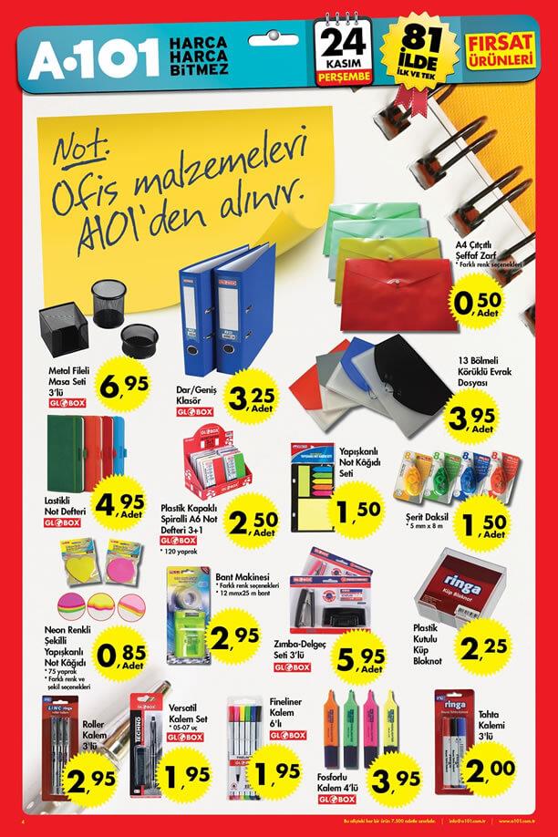 A101 Fırsat Ürünleri 24 Kasım 2016 Katalogu - Ofis Malzemeleri