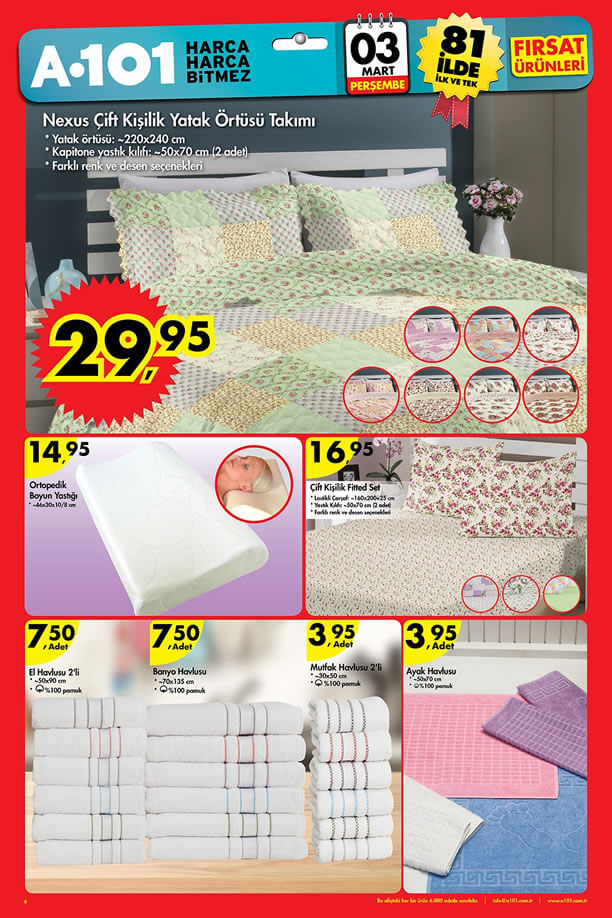 A101 Fırsat Ürünleri 3 Mart 2016 Katalogu - Ev Teksitili