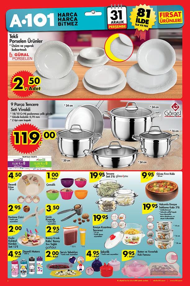 A101 Fırsat Ürünleri 31 Aralık 2015 Katalogu - Güral Porselen