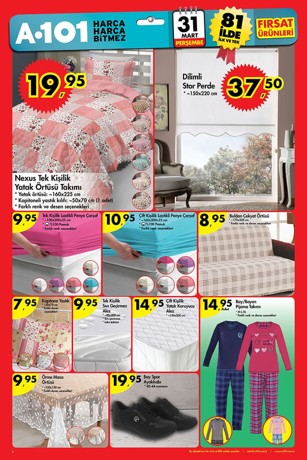 A101 Fırsat Ürünleri 31 Mart 2016 Katalogu - Dilimli Stor Perde