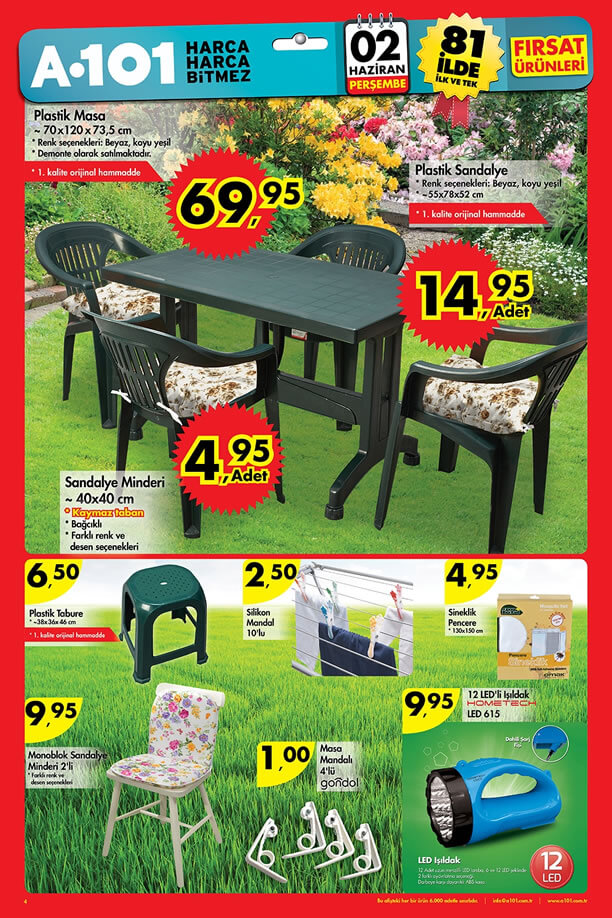 A101 Fırsatları 2 Haziran 2016 Katalogu - Plastik Masa Sandalye