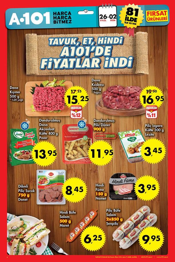 A101 Fırsatları 26 Eylül - 2 Ekim 2016 Katalogu - Et ve Et Ürünleri