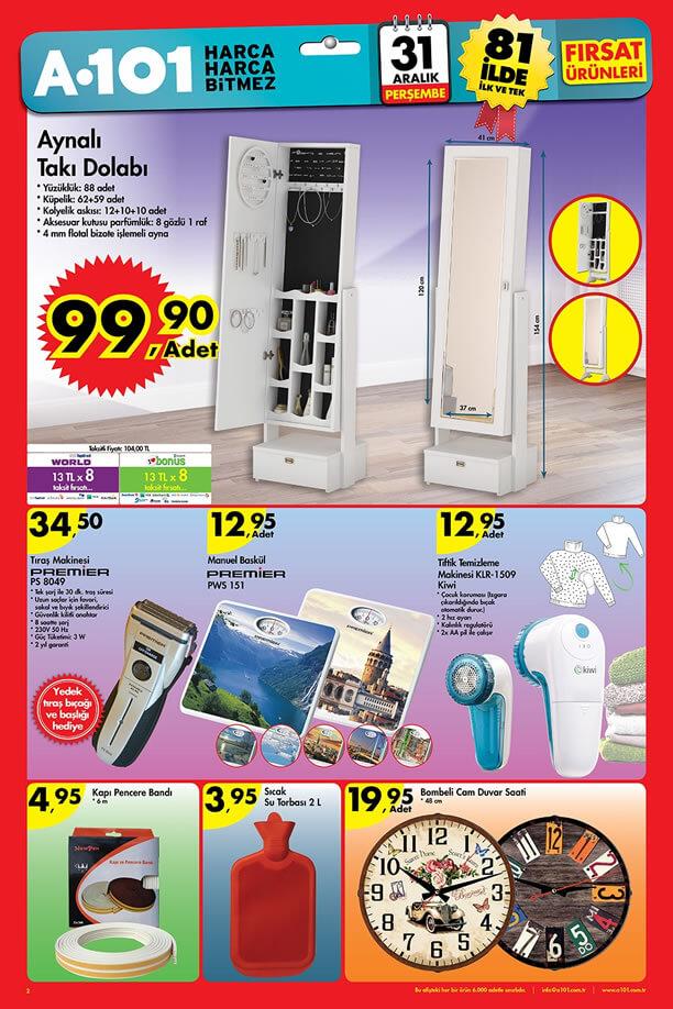 A101 Fırsatları 31 Aralık 2015 Katalogu - Aynalı Takı Dolabı