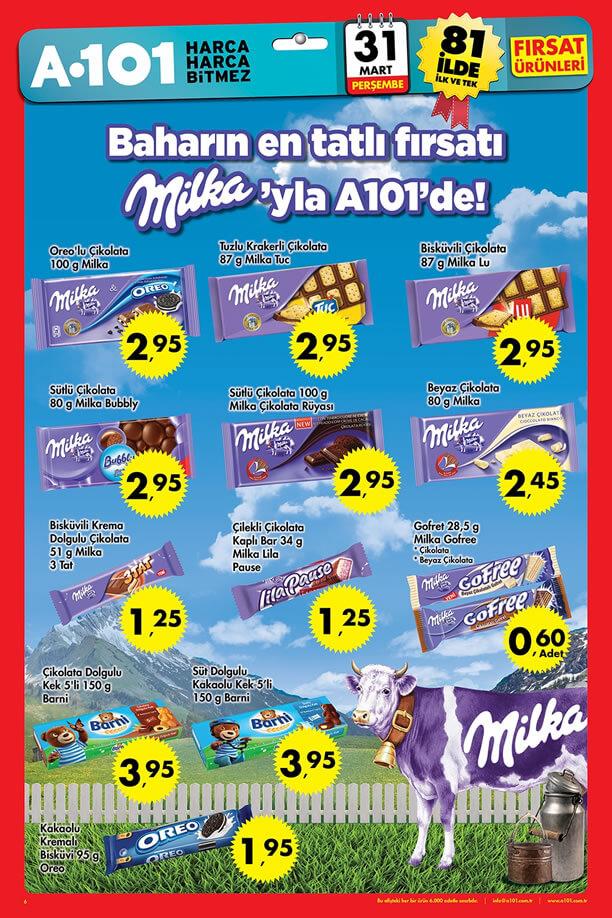 A101 Fırsatları 31 Mart 2016 Perşembe Katalogu - Milka