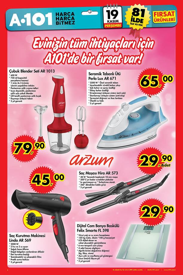 A101 İndirimleri 19-25 Kasım 2015 Katalogu - Arzum