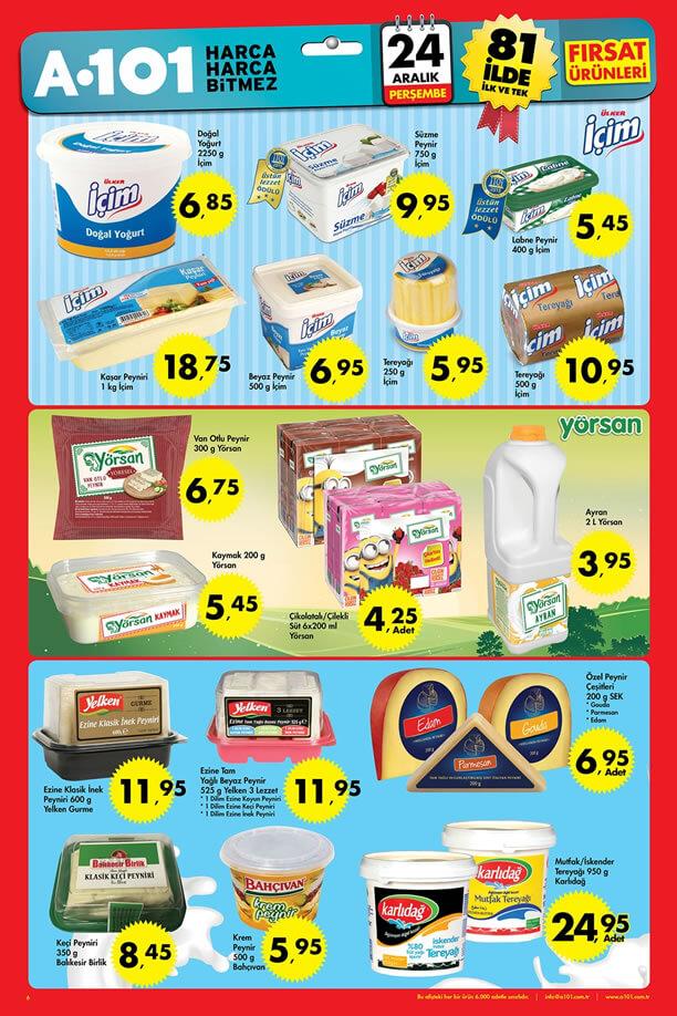A101 İndirimleri 24-30 Aralık 2015 Broşürü - Süt Ürünleri