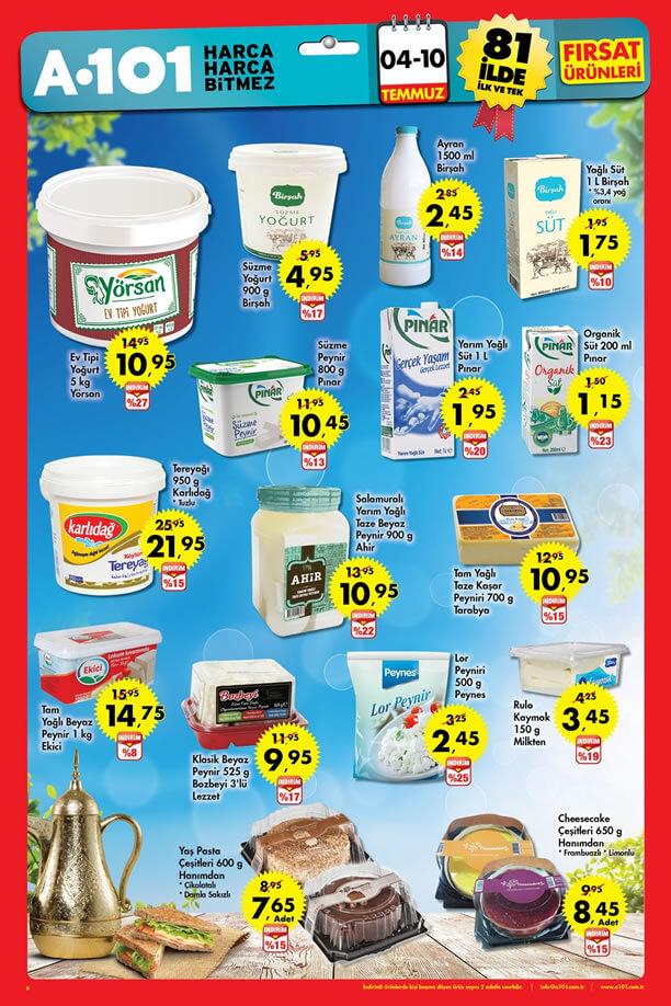 A101 İndirimleri 4-10 Temmuz 2016 Katalogu - Süt Ürünleri