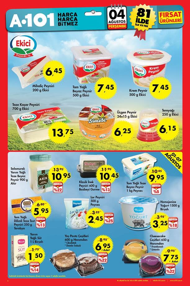 A101 İndirimleri 4 Ağustos 2016 Katalogu - Ekici Peynir