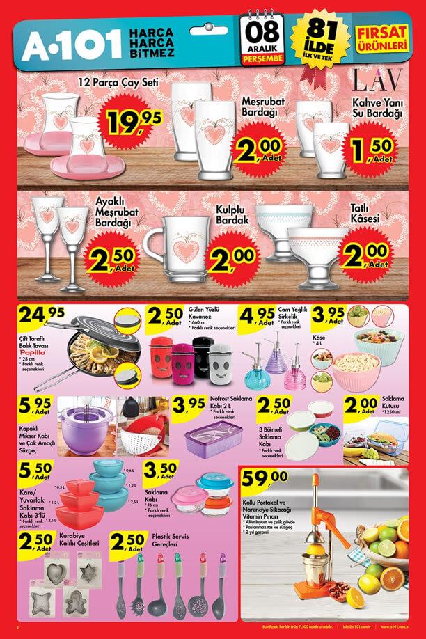 A101 İndirimleri 8 Aralık 2016 Katalogu - LAV 12 Parça Çay Seti