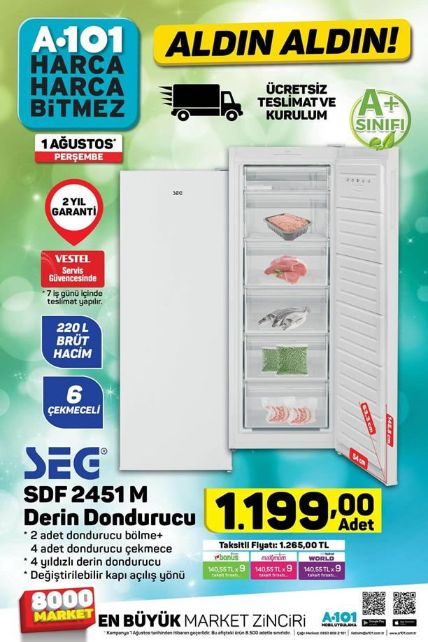 A101 Market 1 Ağustos 2019 Kataloğu - SEG Derin Dondurucu