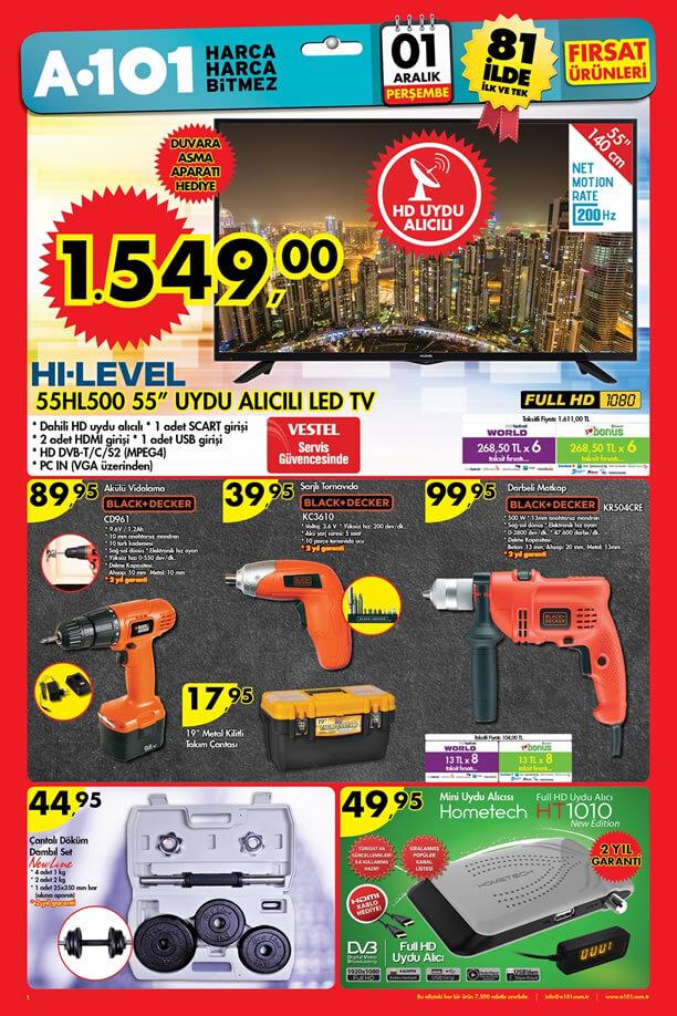 A101 Market 1 Aralık 2016 Katalogu - HI-LEVEL Uydu Alıcılı Led Tv