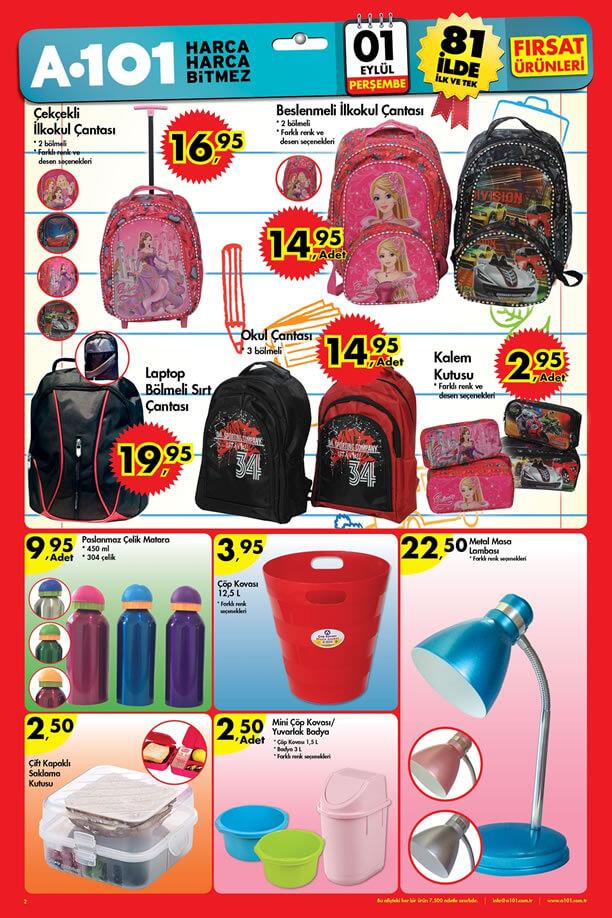 A101 Market 1 Eylül 2016 Katalogu - Okul Çantası