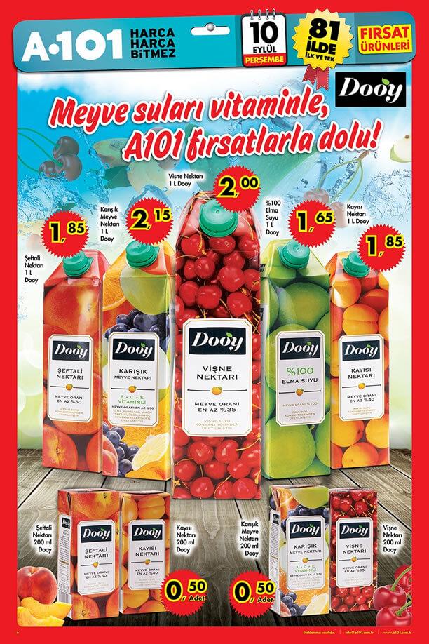 A101 Market 10 Eylül 2015 Fırsat Ürünleri Katalogu - Dooy Meyve Suyu