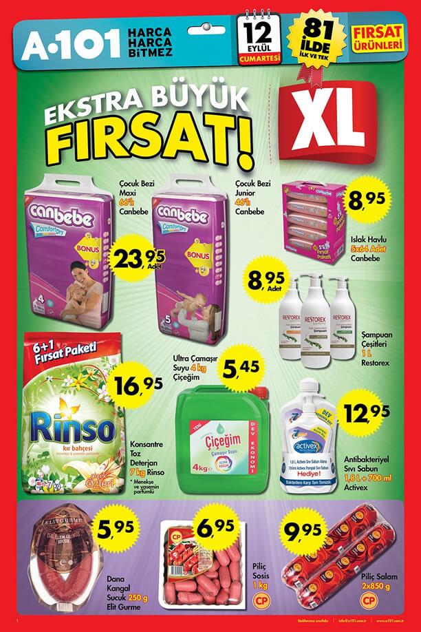A101 Market 12 Eylül 2015 Aktüel Ürünler Katalogu - Canbebe Çocuk Bezi