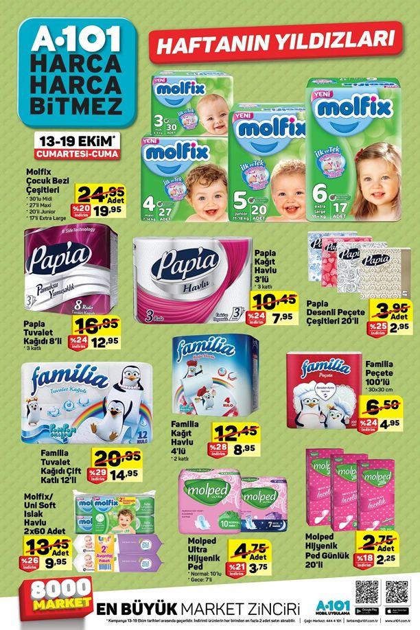 A101 Market 13 Ekim 2018 Fırsatları - Molfix Bebek Bezi Fiyatları