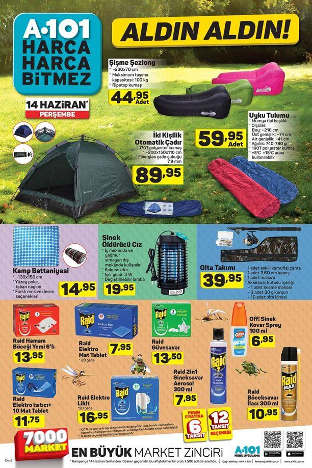 A101 Market 14 Haziran Fırsatları - Çadır ve Kamp Malzemeleri