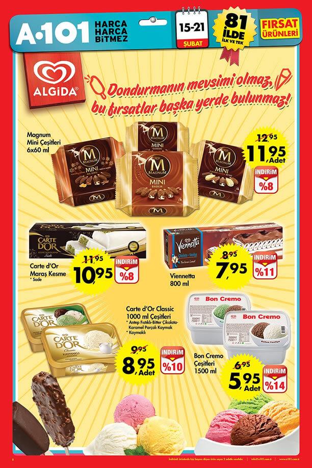 A101 Market 15-21 Şubat 2016 Broşürü - Algida Dondurma