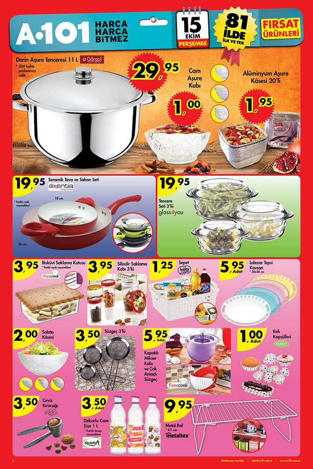 A101 Market 15 Ekim 2015 Fırsat Ürünleri Katalogu - Aşure Tenceresi