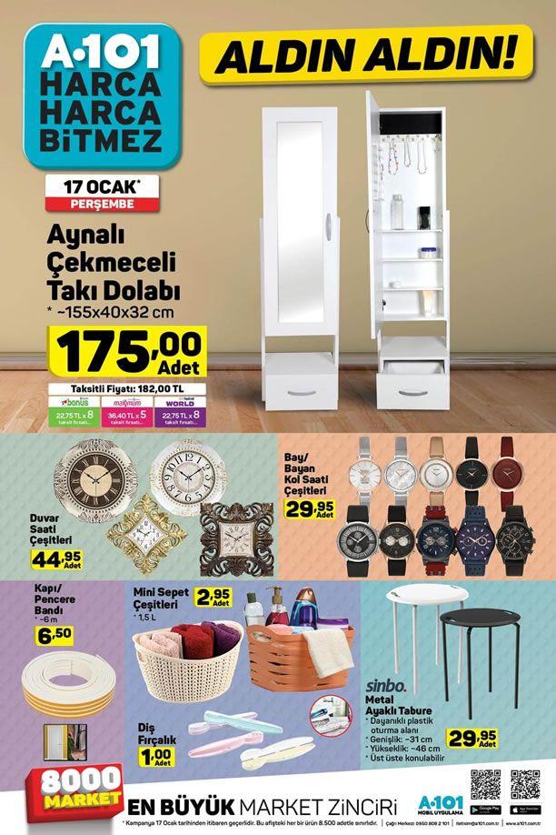 A101 Market 17.01.2019 Kataloğu - Aynalı Çekmeceli Takı Dolabı