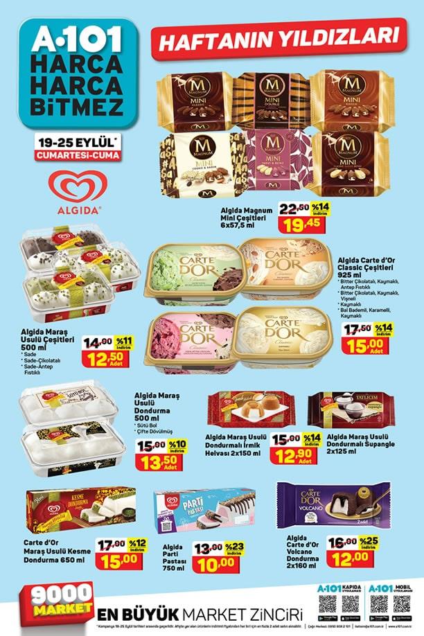 A101 Market 19 Eylül - 25 Eylül 2020 Dondurma Fiyatları