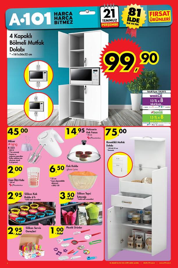 A101 Market 21.07.2016 Katalogu - 4 Kapaklı Bölmeli Mutfak Dolabı