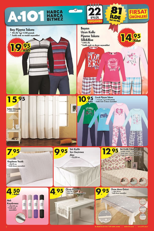 A101 Market 22 Eylül 2016 Katalogu - Bay Pijama Takımı