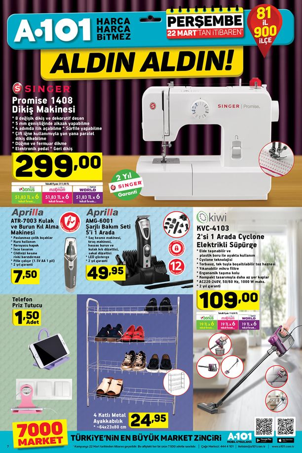 A101 Market 22 Mart 2018 Katalogu - Singer Promise Dikiş Makinesi