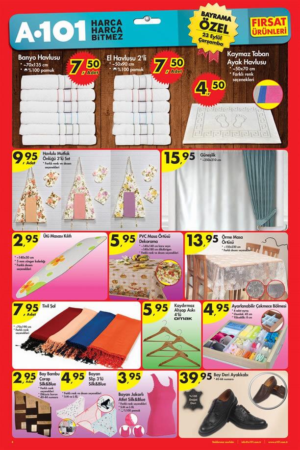 A101 Market 23 Eylül 2015 Aktüel Ürünler Katalogu - Ev Tekstili