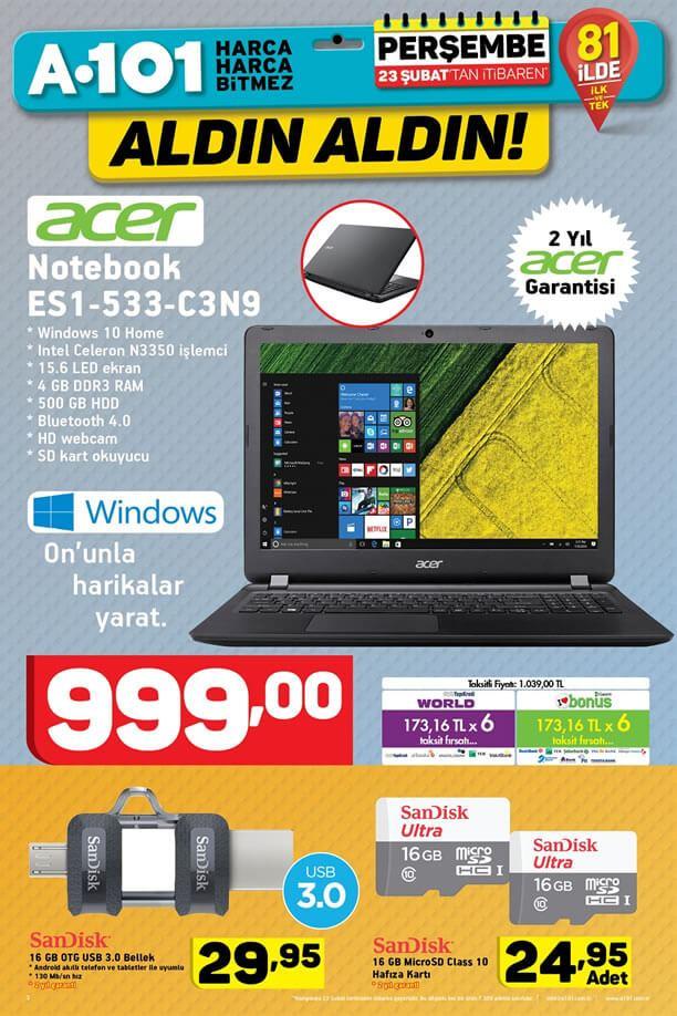 A101 Market 23 Şubat 2017 Katalogu - Acer Notebook