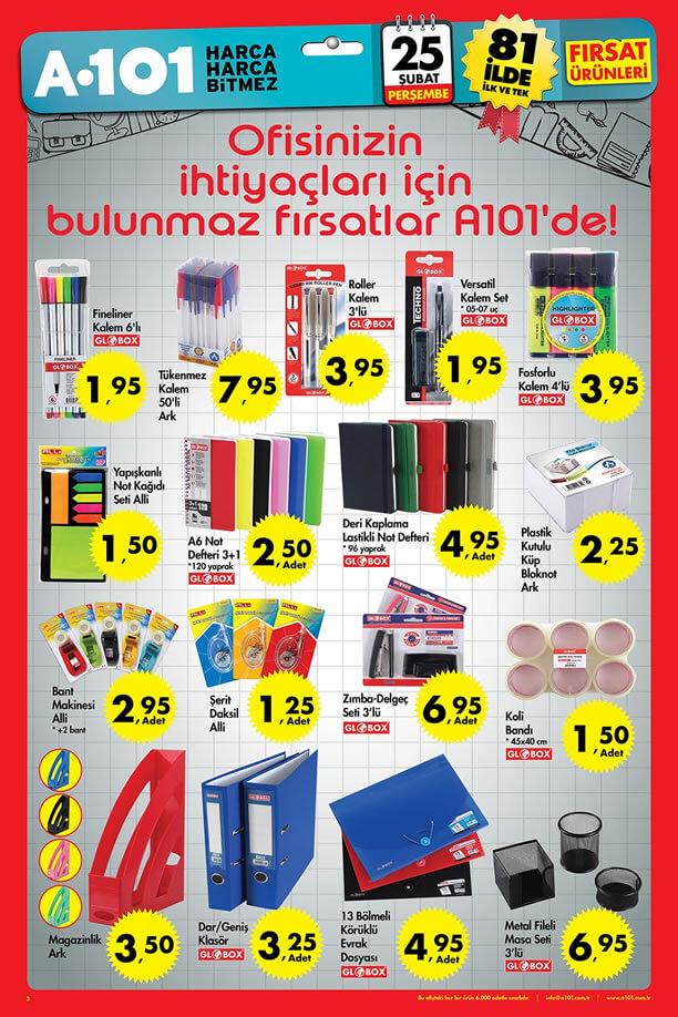 A101 Market 25.02.2016 Perşembe Katalogu - Ofis Malzemeleri