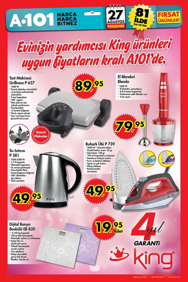 A101 Market 27 Ağustos 2015 Aktüel Ürünler Katalogu - King
