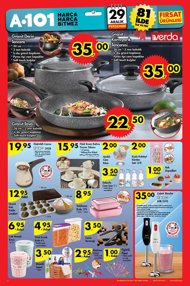 A101 Market 29 Aralık 2016 Katalogu - Verda Granit Tencere