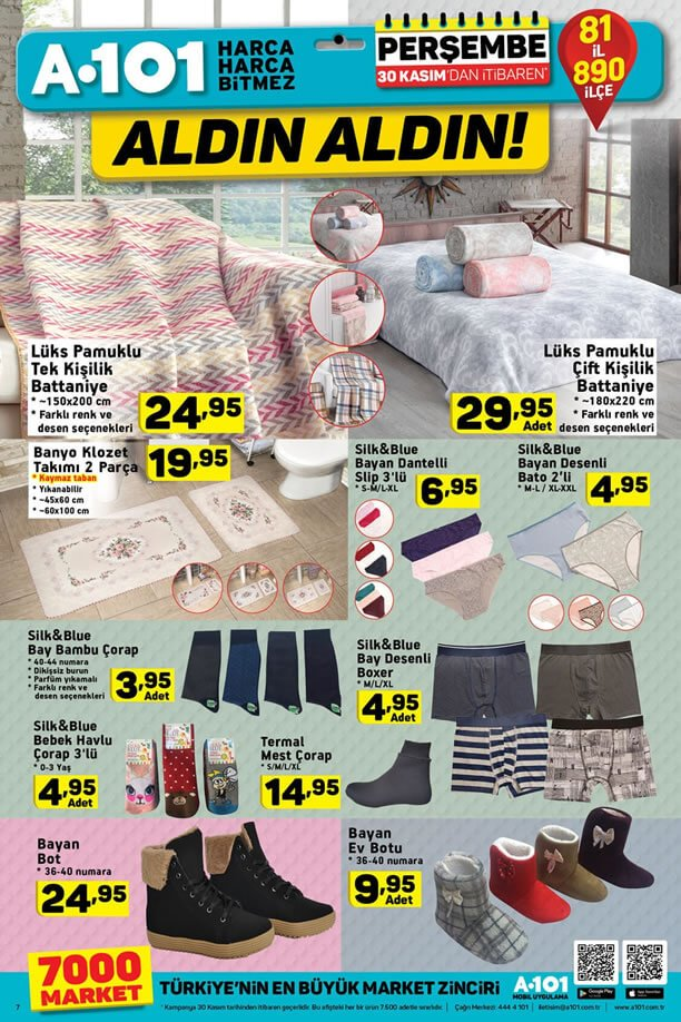 A101 Market 30 Kasım 2017 Kataloğu - Lüks Pamuklu Battaniye
