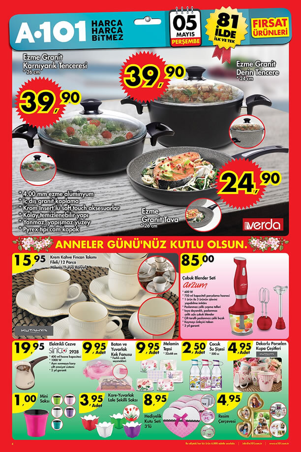 A101 Market 5 - 11 Mayıs 2016 Katalogu - Verda Granit Tencere Tava