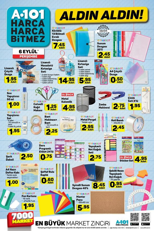 A101 Market 6 Eylül 2018 Kataloğu - Kırtasiye Malzemeleri