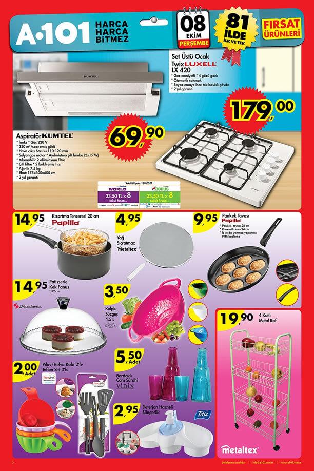 A101 Market 8 Ekim 2015 Fırsat Ürünleri - Aspiratör - Set Üstü Ocak
