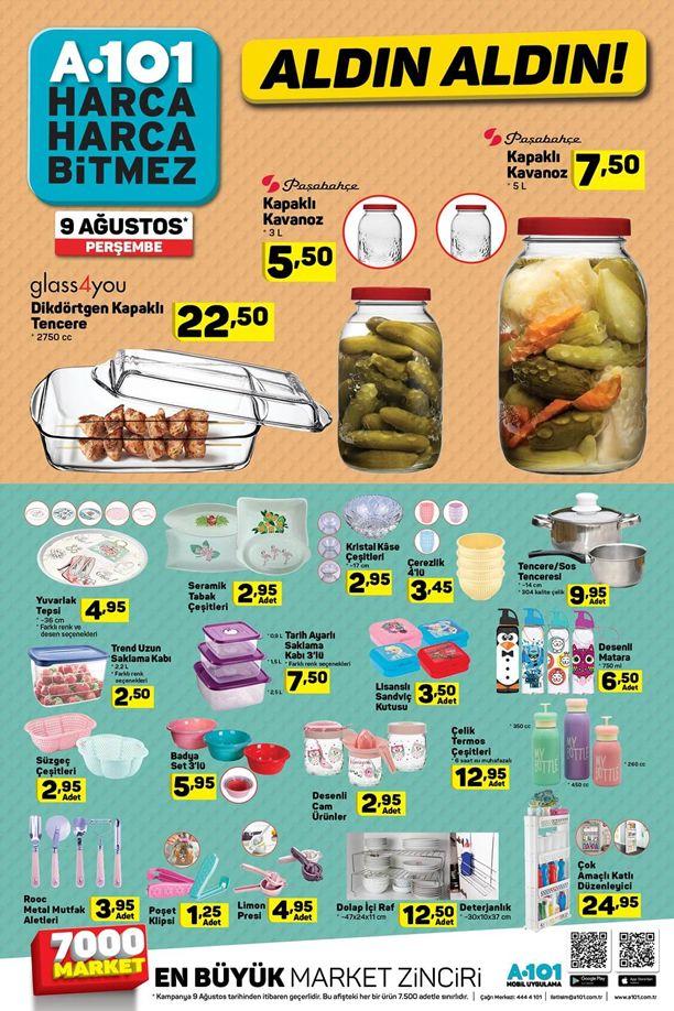 A101 Market 9 Ağustos 2018 Kataloğu - Mutfak Ürünleri