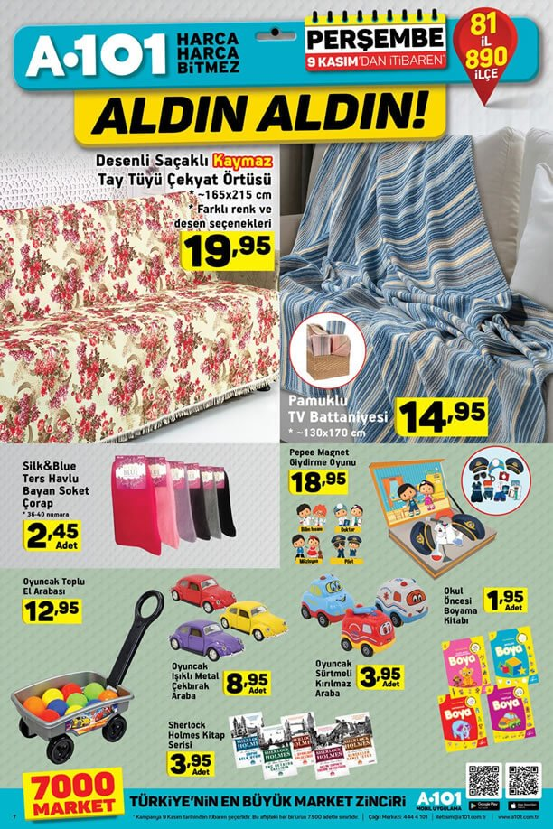 A101 Market 9 Kasım 2017 Kataloğu - Pamuklu Tv Battaniyesi