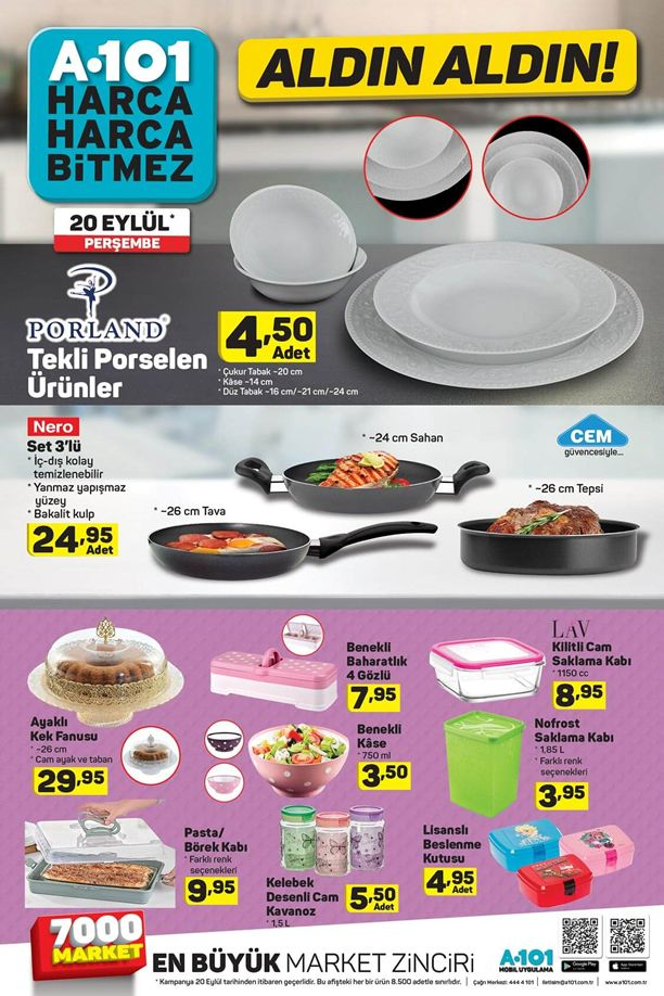A101 Market Mutfak Ürünleri - 20.09.2018 Perşembe Broşürü