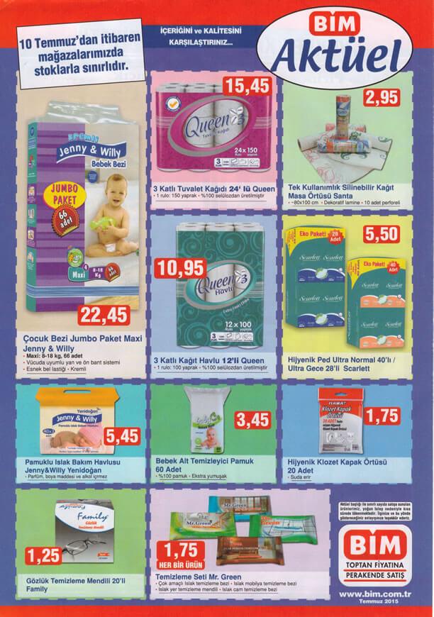 BİM 10 Temmuz 2015 Aktüel Ürünler Katalogu - Çocuk Bezi