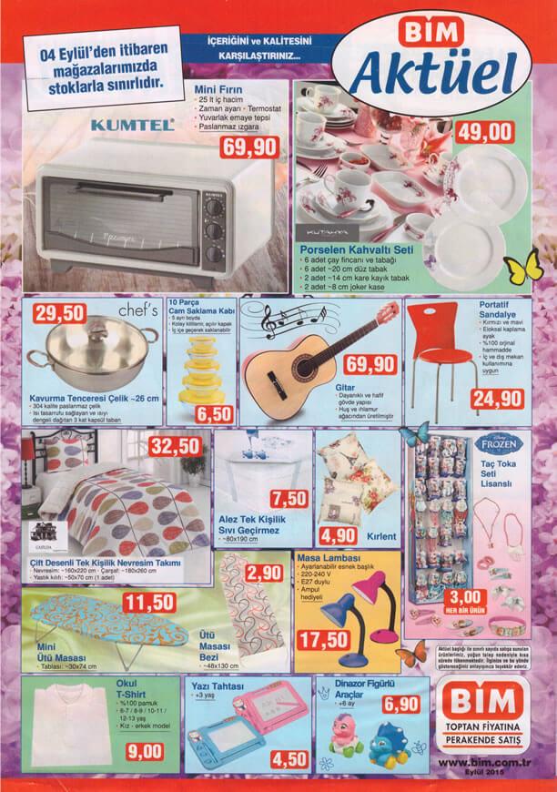 BİM 4 Eylül 2015 Aktüel Ürünler Katalogu - Kumtel Mini Fırın - Gitar