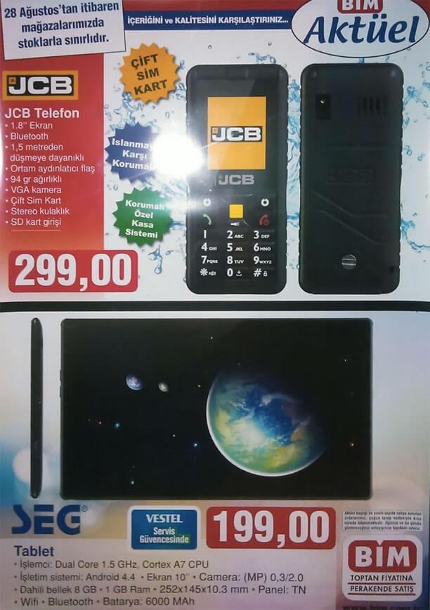 BİM Aktüel Ürünler 28 Ağustos 2015 - JCB Telefon - SEG Tablet