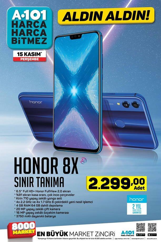 Honor X8 Cep Telefonu 15 Kasım 2018 Perşembe Günü A101 Markette