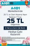 A101 Market English Home Hediye Çeki Kampanyası